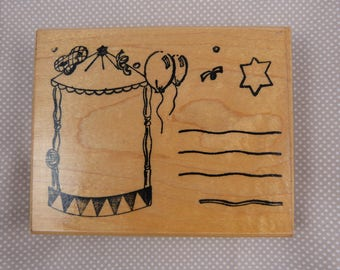 Wooden rubber stamp: kids party invitation