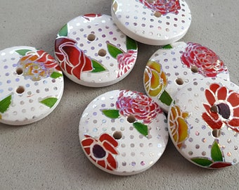 5 wooden buttons sparkling flowers 20 mm buttons liberty, disco, fancy buttons buttons
