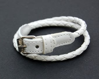 1 leather bracelet braided - white - size 41 x 0.5 cm