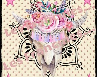 "Digital ""digital collage"" image to achieve self - same transfers or Bohemian paper scrapbooking, ""pink Skull head."