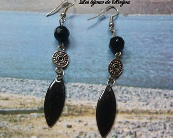 Chic black and silver with glass beads, spacer silver plated and epoxy navette earrings