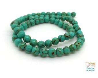 70 beads 6mm turquoise Howlite (ph222)