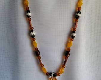 Vintage brown and white gold painted beads