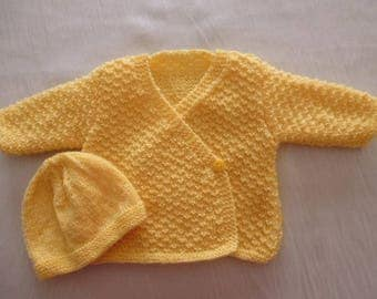 Newborn hand knitted Yellow Hat and jacket set