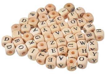 100 mixed wood letter Pr Bracelet 10mm square spacer beads