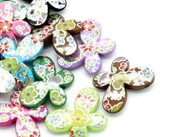 10 Butterfly flower 29mm x 22mm acrylic beads