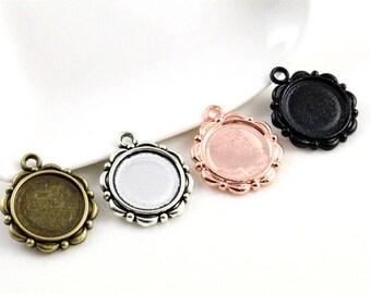 14mm / 10 pendants 14 mm cabochon