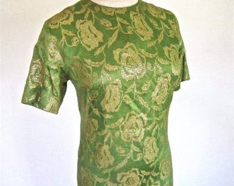 M L 60s Satin Lurex Gown Sheath Dress Long Green Gold Evening by Dorian Mid Century Mad Men Floral Embroidery Medium Large