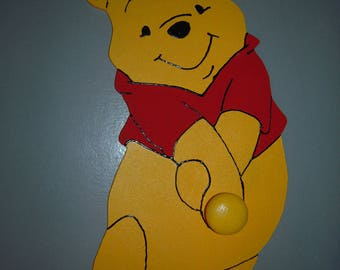 The Pooh wooden yellow and Red 1 peg coat rack