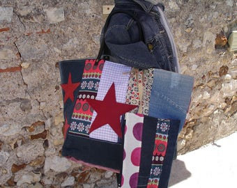 large tote - patchwork - denim multicolored fabrics - pouch