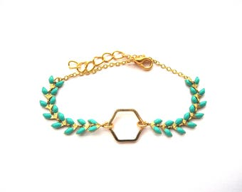 Turquoise and Hexagon spike chain bracelet gold