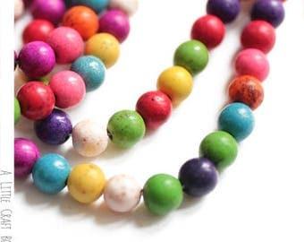 10 beads howlite round 8mm - variegated