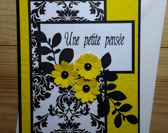 Card all occasions, to the striking contrast between yellow and black