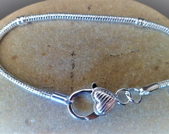 1 bracelet 21 cm shiny silver lobster clasp