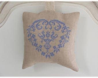 Scented with Lavender pillow embroidered