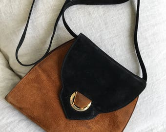 Vintage suede purse | black and brown