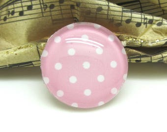 1 cabochon 25 mm glass pink Pastel dots - 25 mm