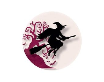 1 cabochon 25 mm glass Halloween witch Fuchsia - 25 mm