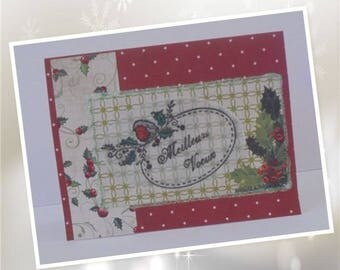 Best wishes - Bouquet of Holly on Garnet polka dots background white
