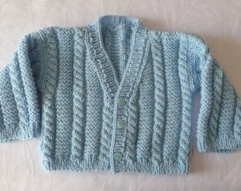 Handmade porcelain Blue Boy 18 months/2 cable knit Cardigan