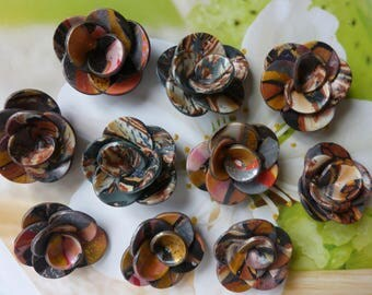 DESTASH SELECTION OF 10 CREATION FIMO CAMEO BROWN FLOWERS