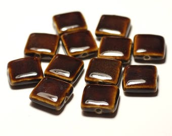 5pc - ceramic porcelain beads 16-18mm Brown Coffee - 8741140017085 squares
