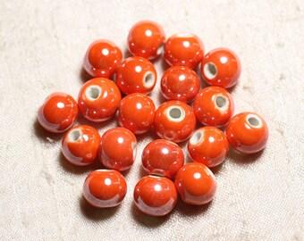 10pc - beads ceramic porcelain balls 12 mm Orange iridescent - 4558550088802
