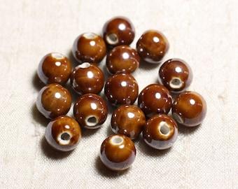 4pc - beads ceramic porcelain balls 14 mm iridescent Brown - 8741140013971