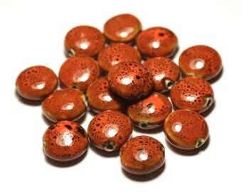 4pc - ceramic porcelain beads 16mm Orange mottled beads - 8741140017757