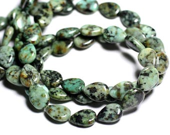 4pc - stone beads - African Turquoise drops 14x10mm - 4558550092960
