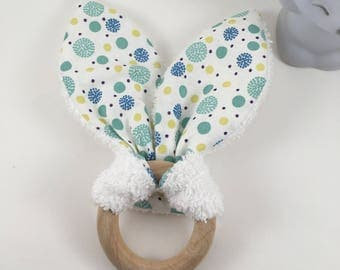 Rattle baby teether bunny ears wooden tassels and sponge