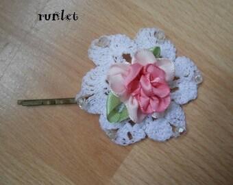Barrette clip shabby chic crochet flower