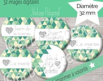 """Mariage """"Vintage Polygonal"""" - 32 Images digitales à imprimer à volonté - Pour cabochon, badge, bijoux"""