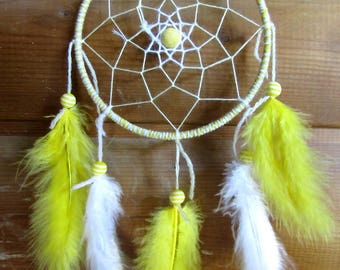 Catch dreams yellow and white / actual 30 cm