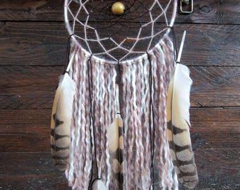 Dream catcher beige-brown tones / OWL feathers