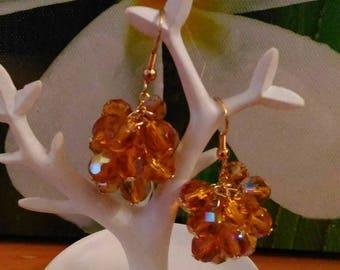 Orange pearl earrings Swarovski