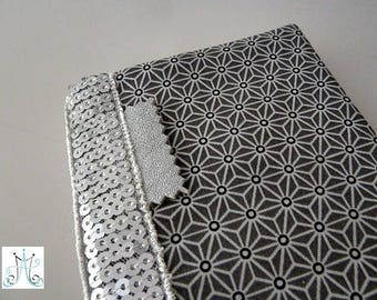 Checkbook wallet dark grey Asanoha and silver sequined band holder