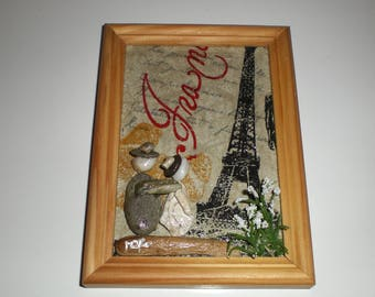 """Wooden painting """"Holiday in PARIS"""" theme Pebble 10,5 x 14, 5 frame"""