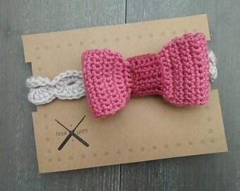 READY TO SHIP | Toddler girl Crochet Headband | 1-2yr | big pink bow on tan band