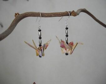 Paper Crane earrings, origami, beads