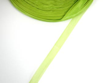 5 meters of 10 mm Green organza Ribbon
