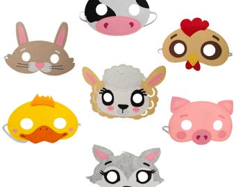 Farm Animal Felt Mask 7 Piece Party Pack