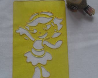 stencil girl, dora, girl plastic rigid yellow for young children