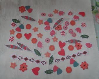 38 embellishment scrap with label theme romantic flower pen