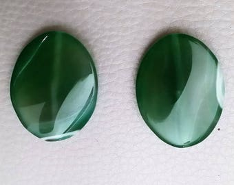 Green agate (set of two beautiful)