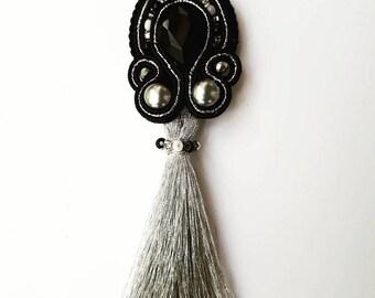 Black crystal elegant soutache necklace long