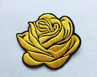 Yellow Rose Patch - Iron on Patches, Sew On Patches, Embroidered Patches