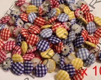 Various buttons gingham colors 100 Acrylic 14 MM fabric covered