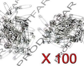Set of 100 Mini pins of nurses in Metal silvered 19 x 5 mm.