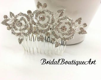 Rhinestone rose comb,Rose flower comb,Bridal hair comb,Wedding hair comb,wedding hair accessories